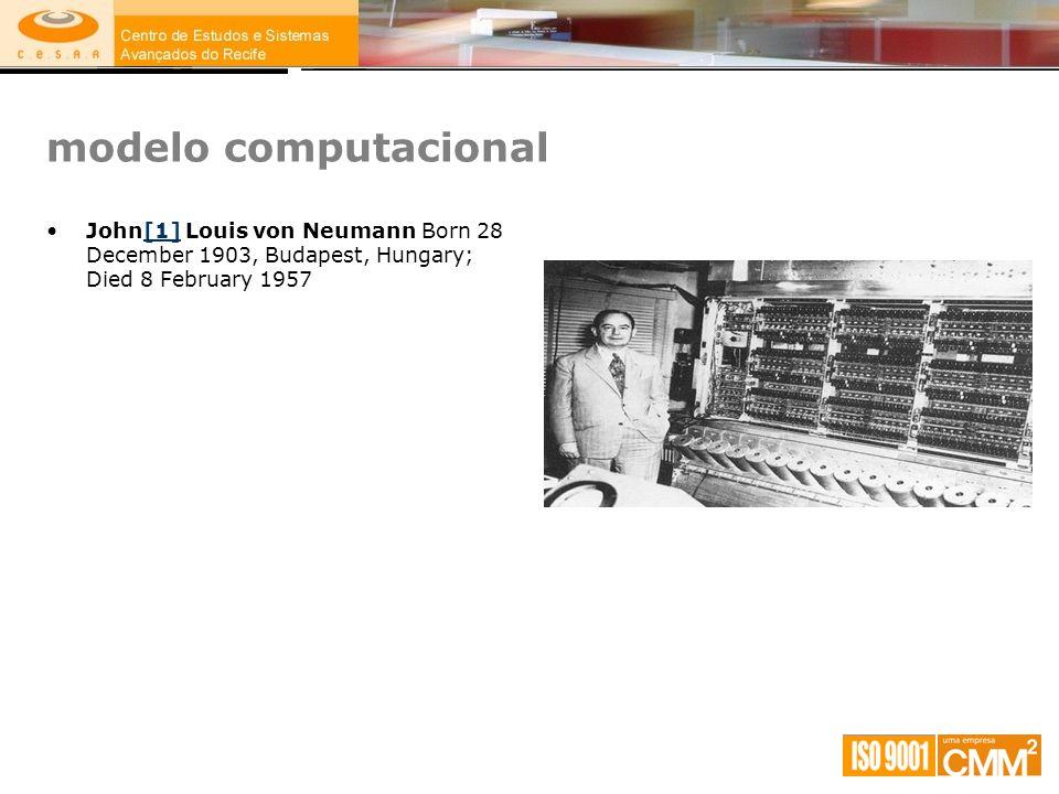 modelo computacional John[1] Louis von Neumann Born 28 December 1903, Budapest, Hungary; Died 8 February 1957.